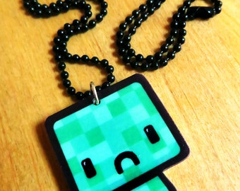 Crafty Green Monster - Charm Necklace