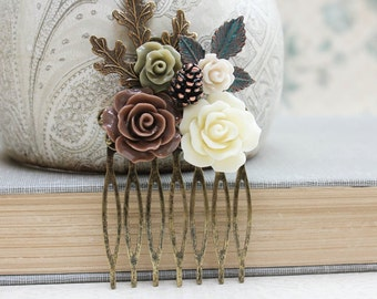 Floral Hair Comb Leaf Hair Accessories Neutral Earth Tones Cream Brown Rose Flower Fall Autumn Woodland Wedding Pine Cone Gift for Women