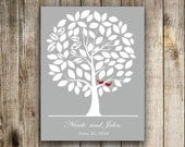 Wedding Guestbook Alternative Print--  To Be Personalized With Guest's Signatures - 17x22 - 60-70  Signature Wedding Guest Book tree