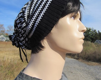 Men's Black White Wool Knit Beanie Hat Slouch Tam Leather Tie Back Hipster Clothing A1452