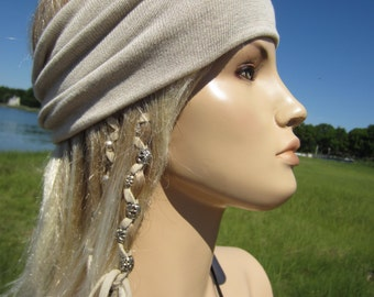 Knit Headband Hair Band Yoga Hair Wrap Turban Hairband Cotton Oatmeal Beige & Tan  A1149
