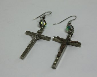 Vintage Religious Cross Crucifix Assemblage Repurposed Earrings Handcrafted OOAK