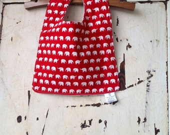 Baby Bib - Eco Organic - Eco Friendly Baby Bib - Toddler Bib - White Elephants on Red