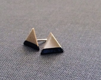 Paint Dipped Triangle Earrings - Raw Brass Triangle, Paint Dipped, Sterling Silver Stud Earring, Minimalist Geometric Jewelry, Gifts For Her