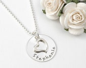 Personalized necklace with Open Heart Charm -  Child - Mother's Necklace - Engagement - Wedding