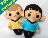 PDF PATTERN - Spock & Kirk Chibi Plush (Digital Download)