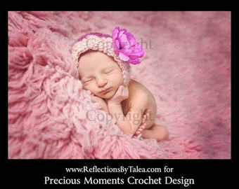 Newborn Bonnet, Newborn Photo Prop, Newborn Girl Hat,  Baby Girl Photo Prop, Crochet Baby Bonnet, Bonnet with Flower, Baby Photo Prop