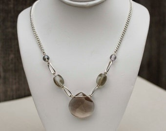 Grey Crystal Modern Necklace - Silver Chain & Glass Beads