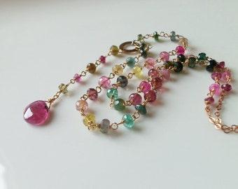 Watermelon Rainbow Tourmaline Gemstone Wire Wrapped Y Necklace with 14k Gold Fill Handmade Jewelry