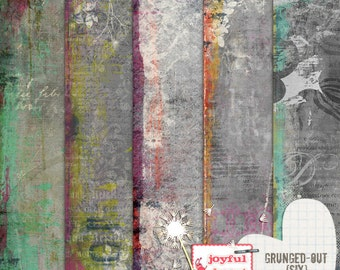 Grunged-Out 6 - 12x12 Digital Scrapbooking Papers, Printable, Instant Download, for ATC Card, Collage, Hybrid, Mixed Media, DIY Crafts :)