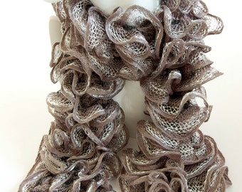 CLEARANCE - Grey Ruffle Scarf Silver Knitted White Layered Flamenco Scarf Sale by Emma Dickie Design