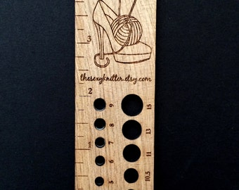 Knitting Needle Gauge/Ruler - Sexy Knitter Limited Edition