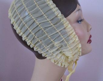 Vintage 1950's Headband Hat, Yellow Elastic