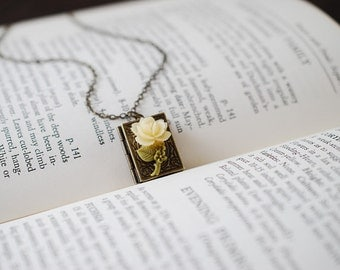 Book Locket Necklace. Antique Brass Book Locket with Ivory Rose Flower, Miniature Book Necklace, Gift for Librarian, mothers day gift