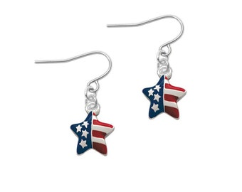 Silver Plated, Enameled, USA Patriotic Star Earrings