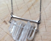 Black Oxide Multi Crystal Ladder Necklace