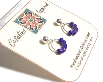 Sterling Silver Post Earrings With Silver Ring & Royal Bright Blue Glass Beads