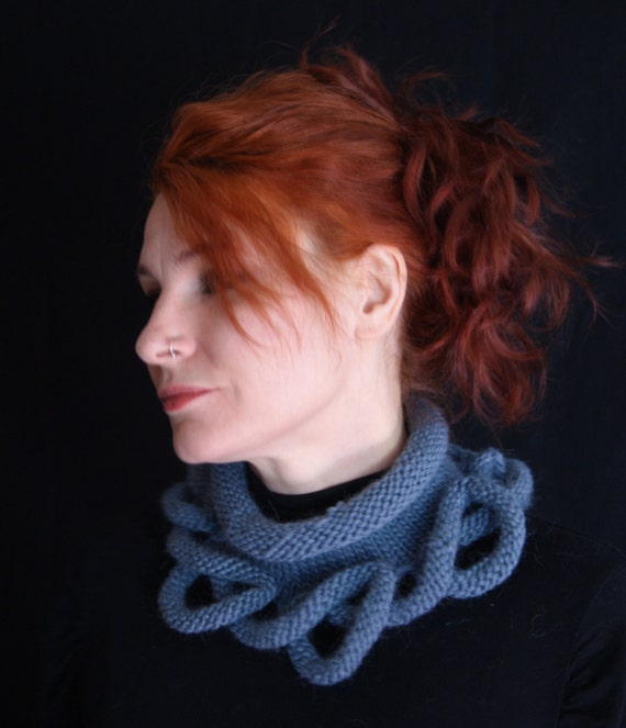 PDF Hand Knitting Cowl Pattern for 'Loopy Bottom Cowl' in chunky yarn written directions