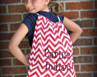 String Backpack in Red and White Chevron