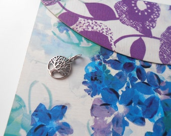 Super Cute Round TREE of LIFE Charm Pendant in Sterling Silver