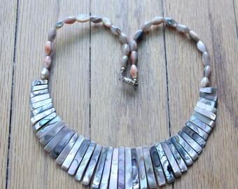 Vintage 70's Abalone Choker Necklace