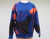 Vintage 1980s Sweater / 80s New Wave Abstract Print Slouch Sweater / Medium - Large