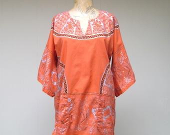 Vintage 1960s Dashiki / 60s Orange Cotton Print Boho Exotica Festival Tunic Top / Small