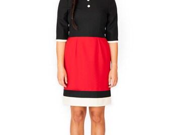 Peter pan collar dress red black mod 1960s dress