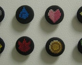 Pokemon Badges Cross Stitch Magnets