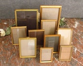 10 Assorted  Photo Frames - GOLD Embossed Metal
