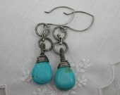 Robins Egg Blue, Pilot Mt.Turquoise Sterling Silver Earrings