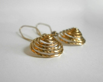 Gold Spiral Circle Earrings Small 14k Gold Filled Dangles Swirl Earrings Labyrinth Earrings Textured Dome Earring Wire Jewelry