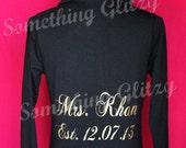 SET- Custom and Personalized Mrs + Date Hoodie, Jacket, Sweat Shirt, Yoga Jacket, Cotton or Velour SM - XLarge