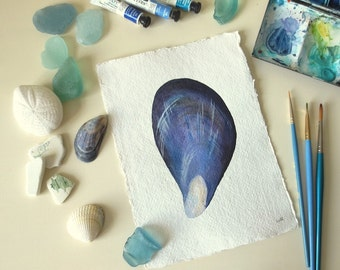 Mussel sea shell watercolour original illustration painting ocean beach series collection