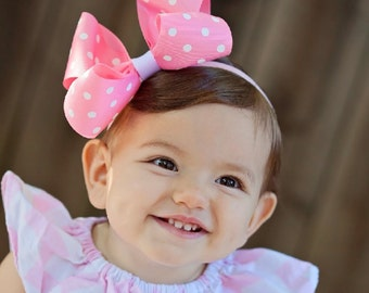 Baby Headband, XXL Loopy Polka Dot Boutique Baby Headband Bow,  ANY color YOU choose,infant headband, baby girl