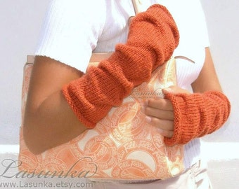 Pumpkin long knit fingerless gloves, Terracota Mittens, Arm Wrist Warmers,  Orange.