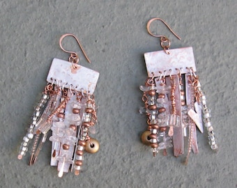 Fire and Ice - Copper and Crystal Long Dangle Earrings