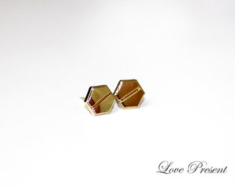 NEW Unisex Geometric Screw Earrings stud Post - Chic and Fun - Color Gold