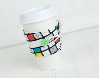 Computer Keyboard Reusable Fabric Coffee Sleeve, Black, Geekery Cuff Cozy, Stocking Stuffer Gift Idea