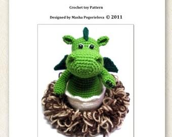 Baby Dragon in its Nest - pdf crochet toy pattern - amigurumi pattern