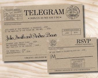 VINTAGE TELEGRAM Wedding Invitation and Response Card / RSVP Invitation Suite