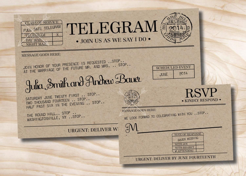 Wedding Invitation Rsvp Card: VINTAGE TELEGRAM Wedding Invitation And Response Card / RSVP