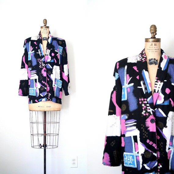 vintage 80's blazer - jacket / Graffiti Print - punk / New Wave - retro - Halloween Costume