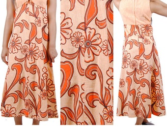 Hawaiian Dress - 70s Vintage Dress - Floral Maxi Dress - Orange Empire Waist Young Hawaii Dress - Small - Medium