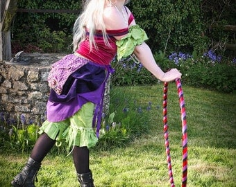 Purple bustle for fairy costume, embellished burlesque, steampunk faerie festival clothing, tie on skirt, gypsy fusion belly dancing.