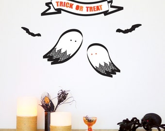 Ghosts Halloween Wall Decal, Halloween, Trick-or-treat, Bats, Modern, Ghosts, Halloween Decor. Ghosts Wall Decal