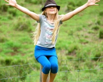 Girls Clothing - Skirted Capri Leggings -Tights - Eco Friendly - Organic Clothing - Blue
