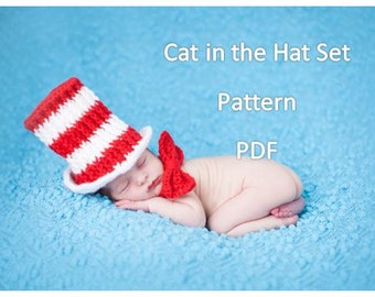 Cat in the Hat baby Set- CROCHET PATTERN- instant download permission to sell finished product