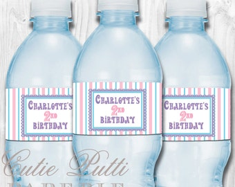 Mary Poppins Vintage Party - PRINTABLE WATER BOTTLE Labels & Pennant Flags - Cutie Putti Paperie