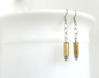 BULLET EARRINGS - brass bullet casings - silver and gold - mixed metal - bullet jewelry - eco-friendly/upcycled jewelry - under 25